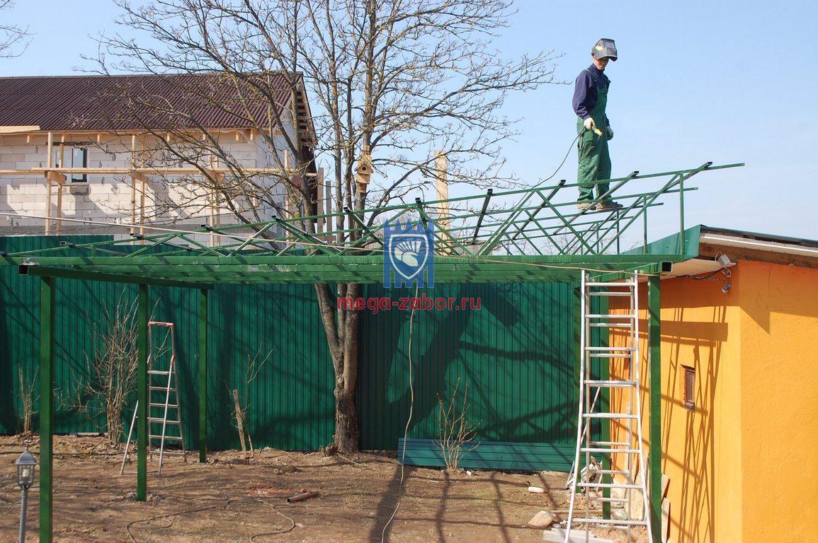 Односкатной навес из поликарбоната 6х5 в Одинцово 46
