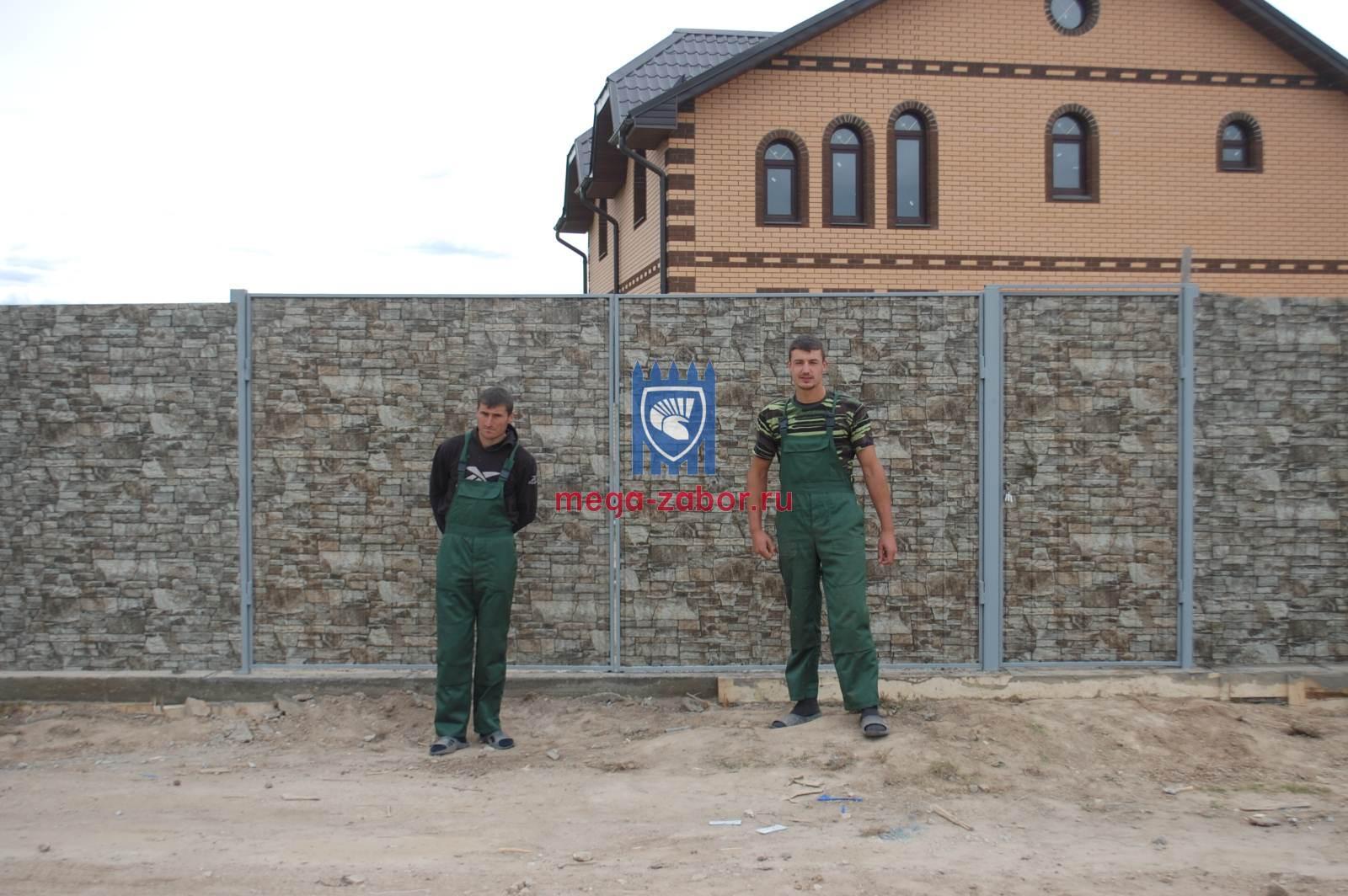 Забор из профнастила под камень в Дмитрове 17